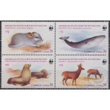 F-EX19665 CHILE MNH 1985 WILDLIFE ENDANGERED SPECIES CHINCHILLA WHALE SEA WOLF HUEMUL