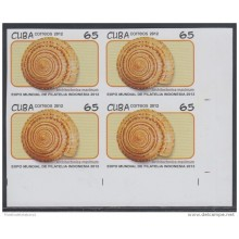 2012.115 CUBA MNH 2012 IMPERFORATED PROOF BLOCK 4. EXPO FILATELICA INDONESIA. PHILATELIC EXPO. SNAIL. CARACOLES