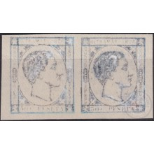 1876-152 CUBA ANTILLAS SPAIN 1876 ALFONSO XII 50c PHOTOGRAPHIC PHILATELIC FORGERY PAIR.