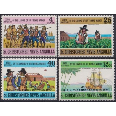 F-EX20946 ST CHRISTOPHER NEVIS ANGUILLA MNH 1973 VISIT WALLES PRINCE SHIP DISCOVERY