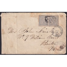 1871-H-32 CUBA SPAIN 1871 25c COVER POSTAGE DUE NY STEMSHIP TO BOSTON, USA