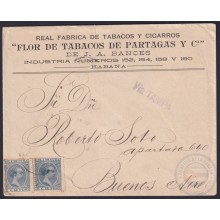 1896-H-14 CUBA SPAIN 1896 5c ALFONSO XIII COVER PARTAGAS TOBACCO FACTORY TABACO.
