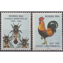 F-EX22347 NORWAY NOREG NORGE MNH 1984 BEE ABEJAS GALLO ROOSTER INSECTS.
