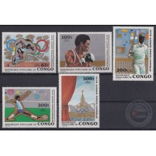 F-EX22272 CONGO MNH 1980 MOSCOW OLYMPIC GAMES ATHLETIC SOCCER FENCING BOXING