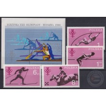 F-EX22297 POLAND MNH 1979 MOSCOW OLYMPIC GAMES HORSE ATHLETICS SOCCER SHIP