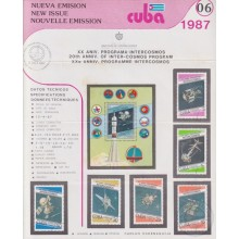 PRP-202 CUBA 1987 LG2002 NEW ISSUE FLYER PROMO. SPACE INTER-COSMOS PROGRAM.