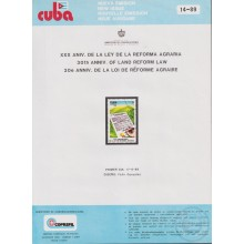 PRP-210 CUBA 1989 LG2010 NEW ISSUE FLYER PROMO. 30th ANIV LAND REFORM REFORMA AGRARIA.