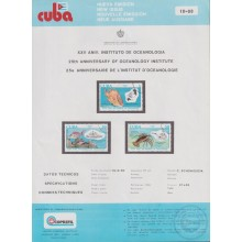 PRP-215 CUBA 1990 LG2015 NEW ISSUE FLYER PROMO. 25th ANIV OCEANOLOGY INSTITUTE FISH PECES LOBSTER.