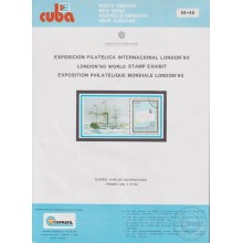 PRP-217 CUBA 1990 LG2017 NEW ISSUE FLYER PROMO. EXPO LONDON´90 PAQUEBOT SHIP BARCO.