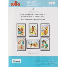 PRP-220 CUBA 1990 LG2020 NEW ISSUE FLYER PROMO. OLYMPIC GAMES BARCELONA ATHLETISM BASEBALL.