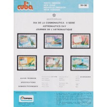 PRP-224 CUBA 1990 LG2024 NEW ISSUE FLYER PROMO. ASTRONAUTICS DAY COHETE POSTAL ROCKET DISPLACED COLOR.