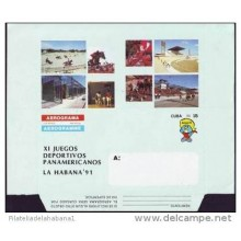 AF343 CUBA POSTAL STATIONERY PANAMERICAN GAMES AEROGRAMME 1991