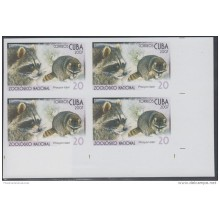 2007.101 CUBA 2007 MNH IMPERFORATED PROOF BLOCK 4. NATIONAL ZOO. ZOOLOGICO. MAPACHE. PROCYON LOTOR