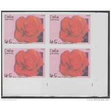 2007.137 CUBA 2007 MNH IMPERFORATED PROOF BLOCK 4. FLOWER. FLORES. ROSAS.