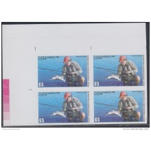 2009.124 CUBA 2009 MNH IMPERFORATED PROOF BLOCK 4. PESCA DEPORTIVA. FLY FISHING. FISH. PECES.