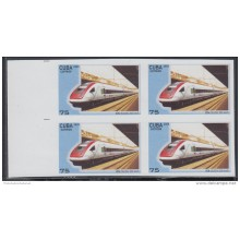 2009.138 CUBA 2009 MNH IMPERFORATED PROOF BLOCK 4. FERROCARRIL ALTA VELOCIDAD. HIGH-SPEED TRAINS. RAILROAD. ICN. SUIZA.
