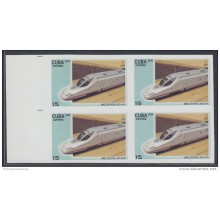 2009.139 CUBA 2009 MNH IMPERFORATED PROOF BLOCK 4. FERROCARRIL ALTA VELOCIDAD. HIGH-SPEED TRAINS. RAILROAD. AVE. ESPAÑA.