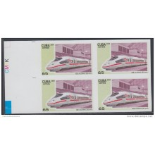 2009.140 CUBA 2009 MNH IMPERFORATED PROOF BLOCK 4. FERROCARRIL ALTA VELOCIDAD. HIGH-SPEED TRAINS. RAILROAD. ICE. GERMANY