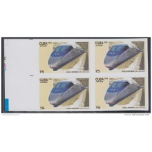 2009.141 CUBA 2009 MNH IMPERFORATED PROOF BLOCK 4. FERROCARRIL ALTA VELOCIDAD. HIGH-SPEED TRAINS. RAILROAD. ACELA EXPRES