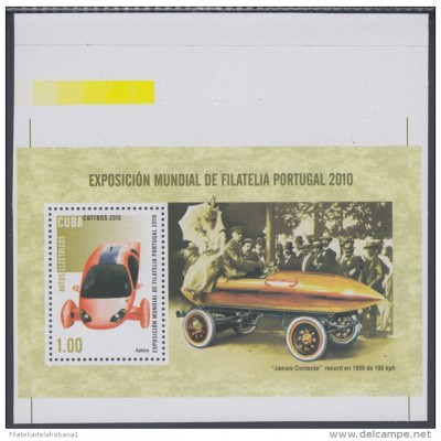 2010.170 CUBA 2010 MNH IMPERFORATED PROOF SPECIAL SHEET. EXPO PORTUGAL. COCHES ELECTRICOS. ELECTRIC CAR. APTERA.