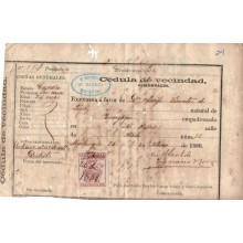 BH591 CUBA ESPAÑA SPAIN 1880 POLICE REVENUE. NATURAL DE ZARAGOZA