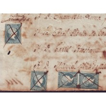 BH2025 CUBA SPAIN ESPAÑA POST OFFICE STAMPS WITH REVENUE USE 1857. HALF REAL