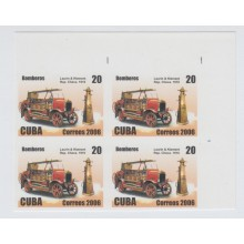 2006.207 CUBA 2006 MNH IMPERFORATED PROOF BLOCK 4. COCHES DE BOMBEROS. FIREMAN CAR. LAURIN & KLEMENT. REP CHECA. 191