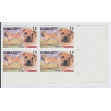 2006.182 CUBA 2006 MNH IMPERFORATED PROOF BLOCK 4. PERROS. DOG. SHARPEI.