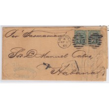 "PREFI-247 *. CUBA SPAIN ESPAÑA. CARTA LONDON. 1865. UK. GREAT BRITAIN. SHIP ""TASMANIAN"". MARCA ""NE"" NEGRO."