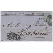 "PREFI-248. CUBA SPAIN ESPAÑA. MARITIME MAIL. CARTA BIRMINGHAM A LA HABANA. 1870. UK. GREAT BRITAIN. MARCA ""NE2"" NEGRO."