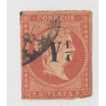 1860-15 CUBA ESPAÑA SPAIN. ANTILLAS. ISABEL II. 1860. Ed.10. CORREO INTERIOR. 1/4 rs ROJO. ORIGINAL. c/ DEFECTOS.