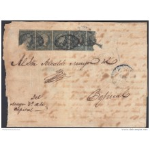 1855-H-32 CUBA ESPAÑA SPAIN. ANTILLAS. ISABEL II. 1855. Ant. Ed.1. &frac12 rs VERDE. PORTE MULTIPLE. DEFECTOS VISIBLES