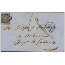 1856-H-28 CUBA ESPAÑA SPAIN. ANTILLAS. ISABEL II. 1856. Ant. Ed.4. &frac12 rs. CARTA PRIVADA AL INGENIO LA GABRIELA