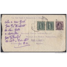 1905-H-27 CUBA. REPUBLICA. 1905. SOBRE A PORT SAID. EGIPTO. SHIP USS WORWARTS. USS PACIFIC. RARE TRANSIT. EGYPT