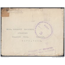 1943-H-2 CUBA. REPUBLICA. 1943. SOBRE RESCATADO NAUFRAGIO A SUDAFRICA. SOUTH AFRICA. DAMAGED BY SEAWATER.