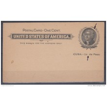 1899-EP-24 CUBA US OCCUPATION. POSTAL STATIONERY. Ed.39ra. ENTERO POSTAL ERROR SIN PUNTO DESPUES DE c. NUEVO.