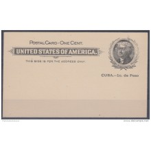 1899-EP-25 CUBA US OCCUPATION. POSTAL STATIONERY. Ed.39ra. ENTERO POSTAL ERROR SIN PUNTO DESPUES DE PESO. NUEVO.