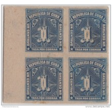 1914-37. CUBA. REPUBLICA. 1914. TASA POR COBRAR. POSTAGE DUE. 1c. PRUEBA IMPERFORADA DE CARTON. BLOQUE DE 4.