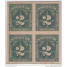 1914-38. CUBA. REPUBLICA. 1914. TASA POR COBRAR. POSTAGE DUE. 2c. PRUEBA IMPERFORADA DE CARTON. BLOQUE DE 4.