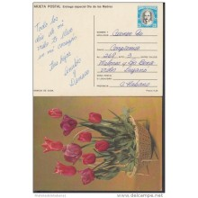 1986-EP-13 CUBA 1986. Ed.140g. MOTHER DAY SPECIAL DELIVERY. ENTERO POSTAL. POSTAL STATIONERY. LIRIOS Y TULIPANES. FLOWER