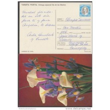 1989-EP-5 CUBA 1989. Ed.145g. MOTHER DAY SPECIAL DELIVERY. ENTERO POSTAL. POSTAL STATIONERY. LIRIOS. FLOWERS. FLORES. US