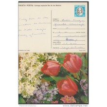 1990-EP-13 CUBA 1990. Ed.147d. MOTHER DAY SPECIAL DELIVERY. ENTERO POSTAL. POSTAL STATIONERY.TULIPANES. FLOWERS. FLORES.
