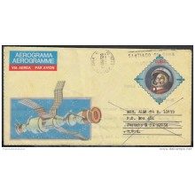 1986-EP-19 CUBA 1986. Ed.15. AEROGRAMME . POSTAL STATIONERY. COHETE. ROCKET. DEVUELTO. USA. FORWARDED. USED.