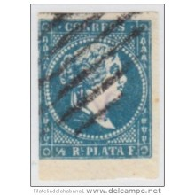 1857-50. CUBA. SPAIN. ESPAÑA. ISABEL II. 1857. FALSO POSTAL. POSTAL FORGERY. GRAUS. TIPO II. COLOR AZUL OSCURO. PARRILLA