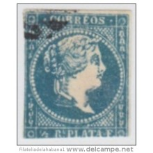 1857-54. CUBA. SPAIN. ESPAÑA. ISABEL II. 1857. FALSO POSTAL. POSTAL FORGERY. GRAUS. TIPO II. COLOR AZUL OSCURO.