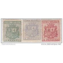 1875-31 CUBA. SPAIN. ESPAÑA. TELEGRAFOS. TELEGRAPH. REPUBLICA. Ed.32-34. 1875. COMPLETE SET. WITHOUT GUM.