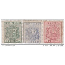 1875-36 CUBA. SPAIN. ESPAÑA. TELEGRAFOS. TELEGRAPH. REPUBLICA. Ed.32-34. 1875. COMPLETE SET. WITHOUT GUM.