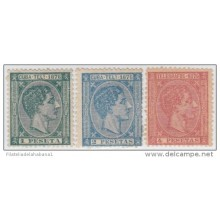 1876-25 CUBA. SPAIN. ESPAÑA. TELEGRAFOS. TELEGRAPH. ALFONSO XII. Ed.35-37. 1876. COMPLETE SET. WITHOUT GUM.