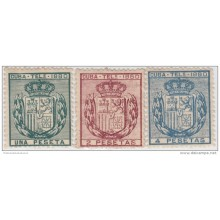 1880-42 CUBA. SPAIN. ESPAÑA. TELEGRAFOS. TELEGRAPH. ALFONSO XII. Ed.49-51. 1880. COMPLETE SET. WITHOUT GUM.