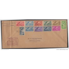 1954-FDC-13 CUBA. REPUBLICA. 1954. INDUSTRIA AZUCARERA. SUGAR FACTORY. COMPLETE SET. MAGENTA CANCEL. RAFAEL R. GARCIA CO